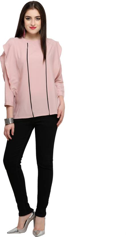 53f2803086ee9b Serein Casual 3 4th Sleeve Solid Women s Pink Top - Buy Serein Casual 3 4th  Sleeve Solid Women s Pink Top Online at Best Prices in India