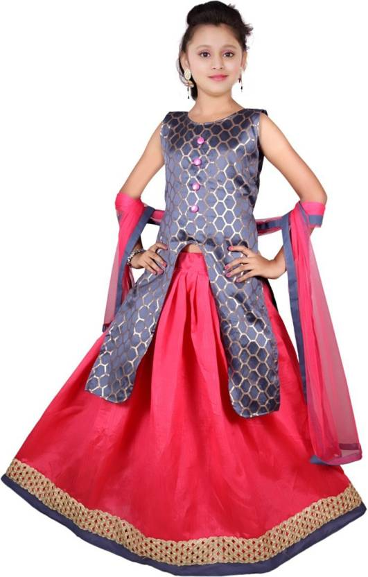 56b8ba3d42 NAJARA FASHION Girls Lehenga Choli Ethnic Wear Self Design Lehenga, Choli  and Dupatta Set (Grey, Pack of 1)