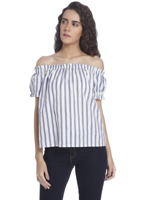 42f150155bd54d Vero Moda Casual Short Sleeve Striped Women s White