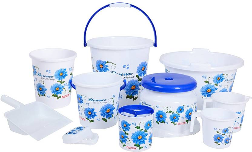 Prince Modwell printed bathroom set 10 Pieces set of Bucket 17.5 Liters, Bucket 5 Liters