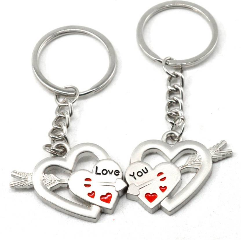 90d03a1a54 Faynci Love You Romantic Twin Heart with small Blood Heart Couple Key Chain  for Gifting for Valentine Day/Birthday/Friendship Day Key Chain Price in  India ...