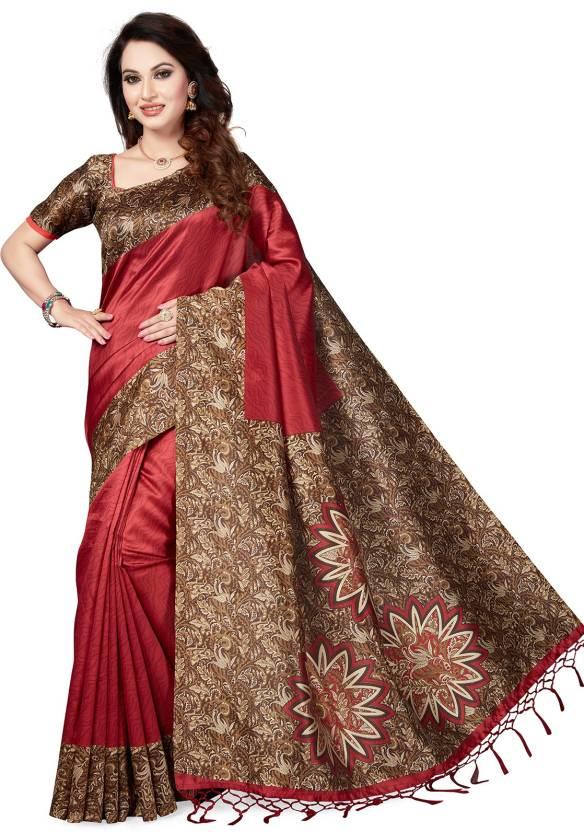 5766e2ea6d9 Buy Ishin Printed Kalamkari Poly Silk Red Sarees Online   Best Price ...