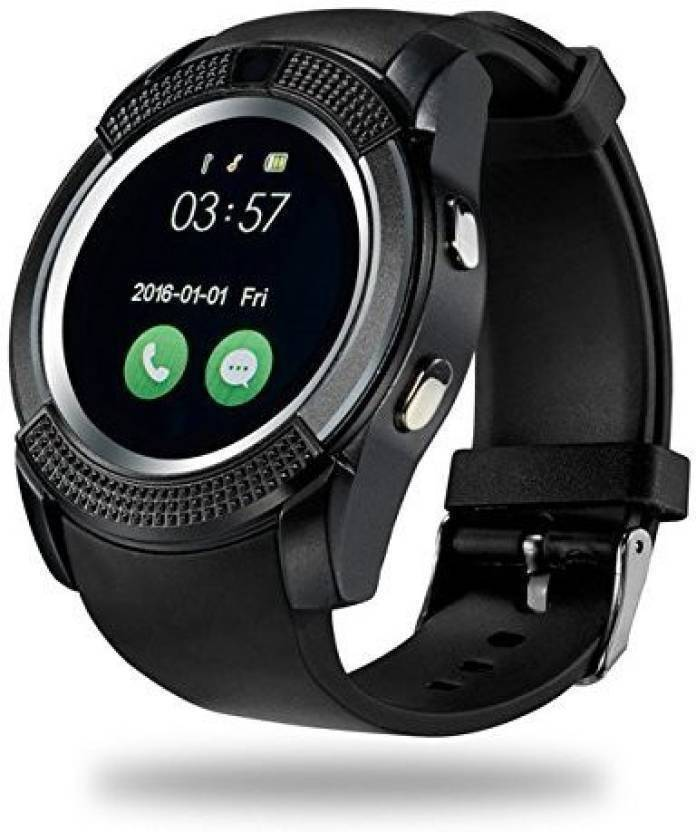 Cp Bigbasket V8 Bluetooth Smartwatch With Sim & Tf Card Support With Apps  Like Facebook And Whatsapp Touch Screen Multi language Android/Ios Mobile