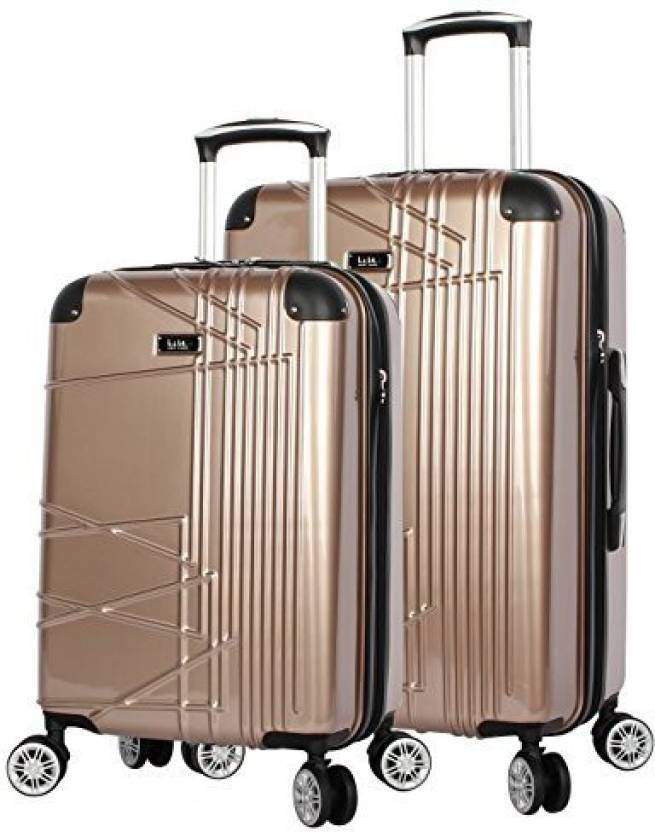 260e90ebce Nicole Miller Solid Hard Body Expandable Check-in Luggage - 27 inch (Gold)