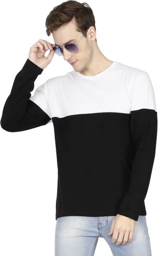 d4e89b759c42 FLEXIMAA Color block Men Round Neck White, Black T-Shirt - Buy FLEXIMAA  Color block Men Round Neck White, Black T-Shirt Online at Best Prices in  India ...