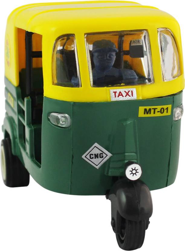 Shinsei Pull Back Deluxe CNG Auto Rickshaw | Miniature Scaled Models ||  Dinky Cars | Green,Yellow