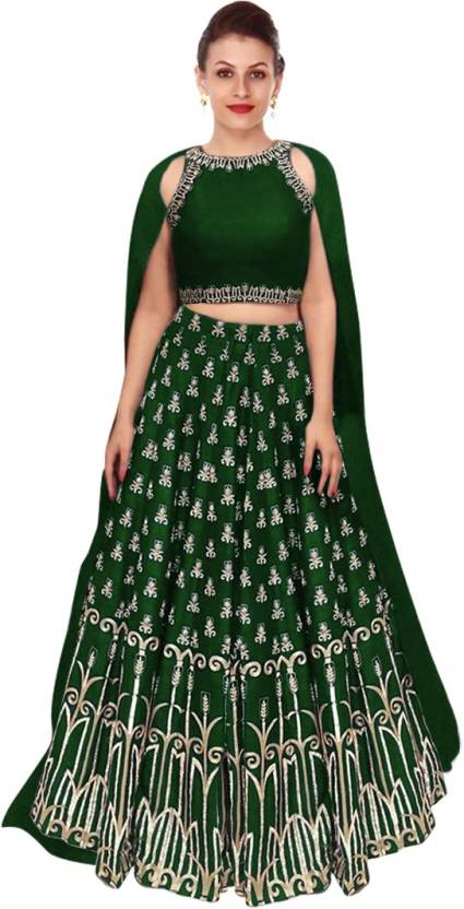 244125d9b2 Rozy Fashion Embroidered Semi Stitched Lehenga, Choli and Dupatta Set  (Green)
