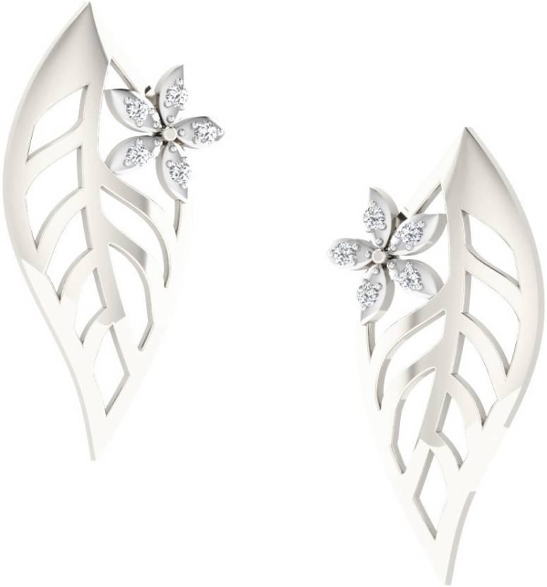 57f9eae76895c Flipkart.com - Buy His & Her 0.03 Cts Diamond Leaf Design Earrings ...