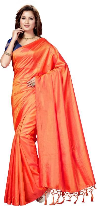 640393a8c93ab5 Buy Rani Saahiba Plain Bollywood Art Silk Orange Sarees Online ...