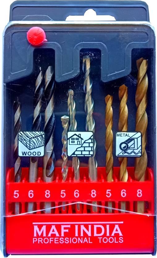 Maf India 9 Pc Drill Bit Set 3 Pc Metal Wood Masonry Heavy Duty