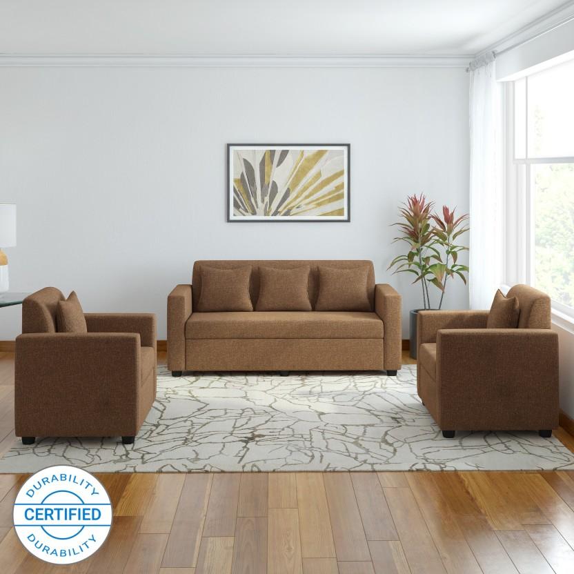 Merveilleux Bharat Lifestyle Lexus Fabric 3 + 1 + 1 Dark Brown Sofa Set