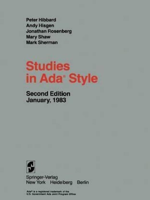 Studies in ADA(R) Style - Buy Studies in ADA(R) Style Online