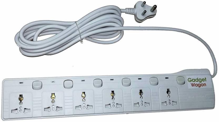 Gadget-Wagon 6 way plug socket multi country Universal input surge ...