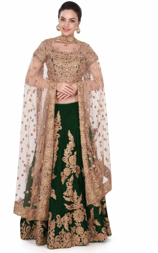 39d2cd39ce Rozy Fashion Embroidered Semi Stitched Lehenga, Choli and Dupatta Set  (Green, Gold)