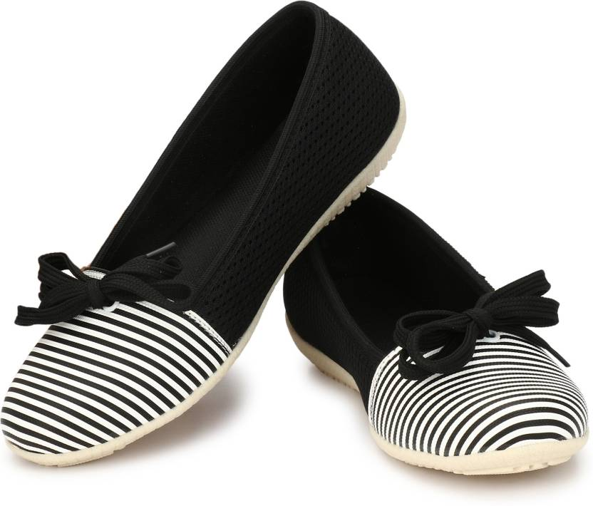 22d99112437ba AlexaStar Flat Belly Shoes Comfortable Slip On Pointed Toe Girls Ballet  Flats/Bellies/Ballerinas Bellies For Women (Black, White)