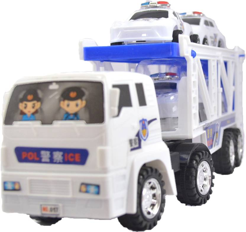 Breno Police Truck With Four Police Cars For Kids Push And Go Toy Police Truck For Kids Police Car For Boys