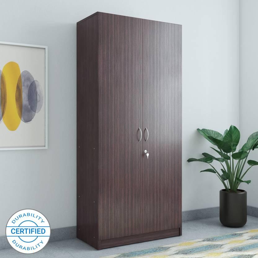 Hometown Engineered Wood 2 Door Wardrobe Finish Color Walnut