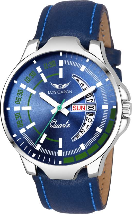 Lois Caron LCS-8071 BLUE DIAL DAY & DATE FUNCTIONING Watch - For Men