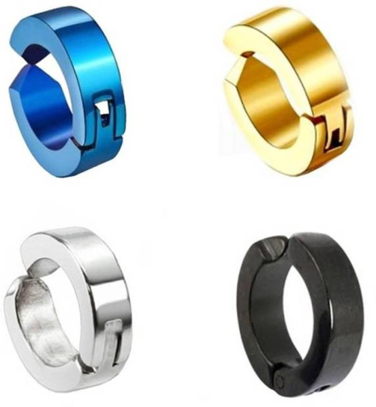 Gadget Deals Non Piercing Ear Mens Jewelry 4 Single Earring Stainless Steel Clip