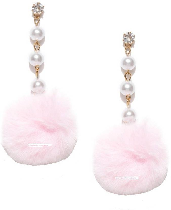 520dbcda1 Flipkart.com - Buy Oomphelicious Pink Pom Pom With Pearls Pearl Alloy Drop  Earring Online at Best Prices in India