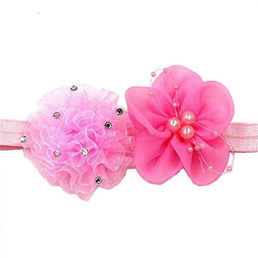 Accessories Fuchsia Fabric Double Flower Stretch Headband Forehead Hair Band