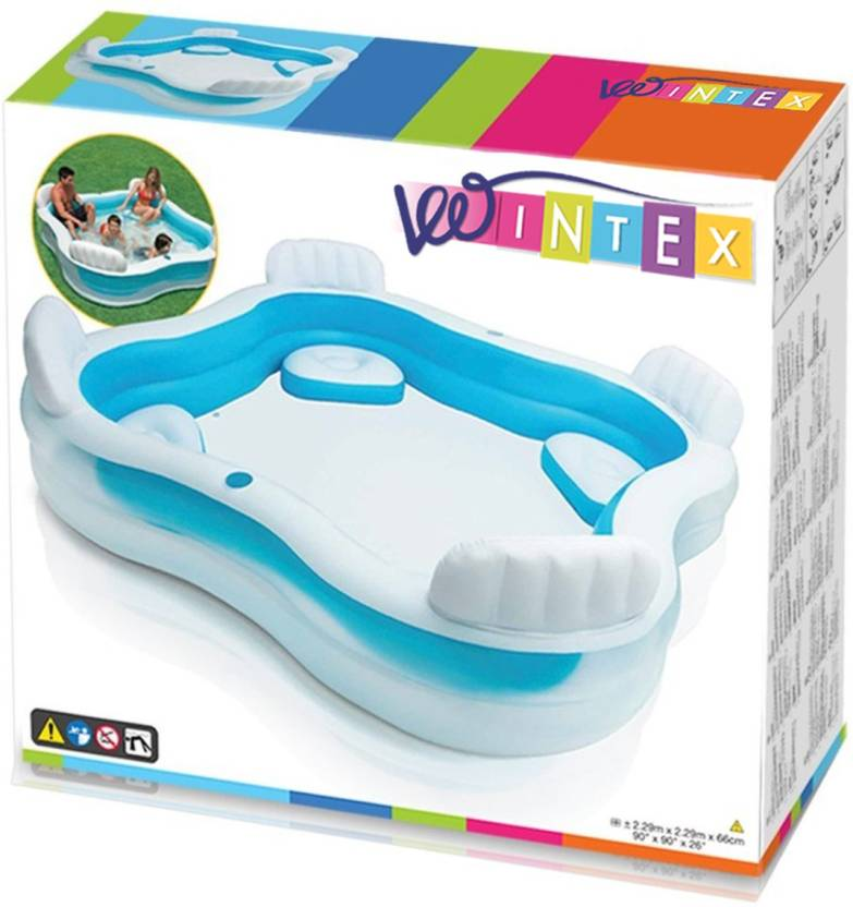 Vw Intex Swim Center Family Lounge 4 Seater Pool Lounger White