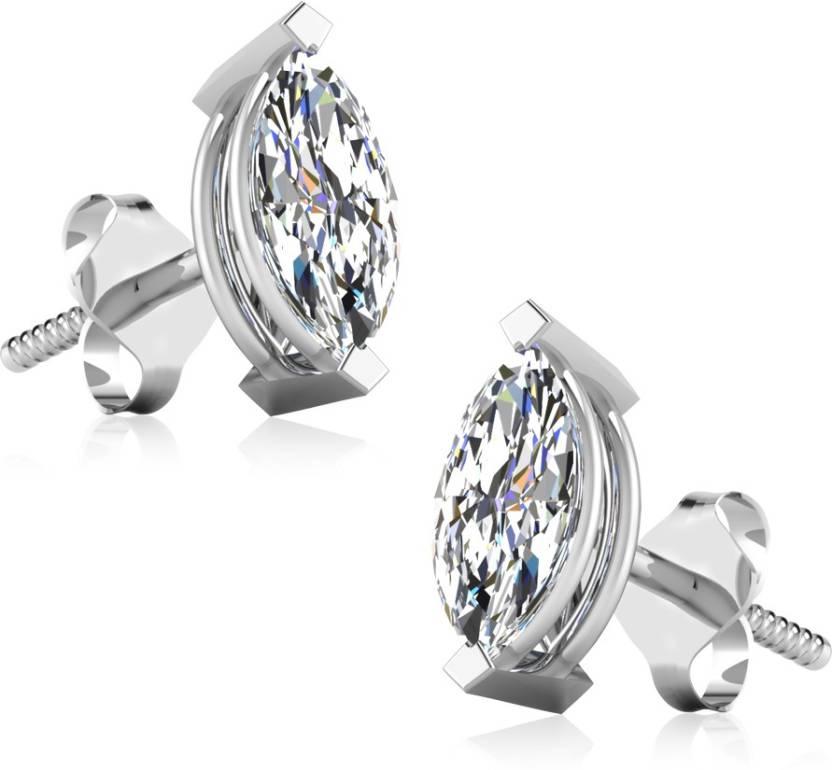 0f4c5c8f3 IskiUski Marquise Designer Mens Stud White Gold 18kt Swarovski Crystal Stud  Earring Price in India - Buy IskiUski Marquise Designer Mens Stud White Gold  ...