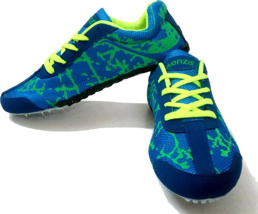 8669b1d4bb Aenza Multi Sports Unisex Light Weight Athletic Spike Running Shoes With PU  Sole - Fluoroscent Blue Running Shoes For Men (Blue)
