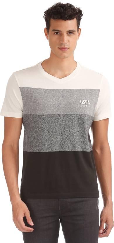 0b13eb1e4 U.S. Polo Assn Color block, Ombre Men V-neck Multicolor T-Shirt ...