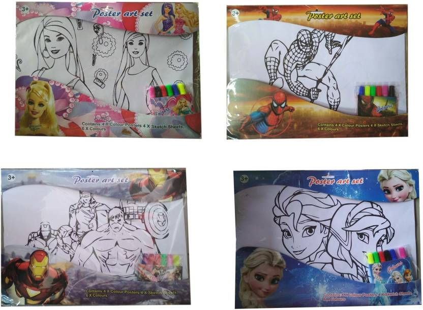 Flipkart Com Indusbay Drawing Coloring Sheet Cartoon Sketch