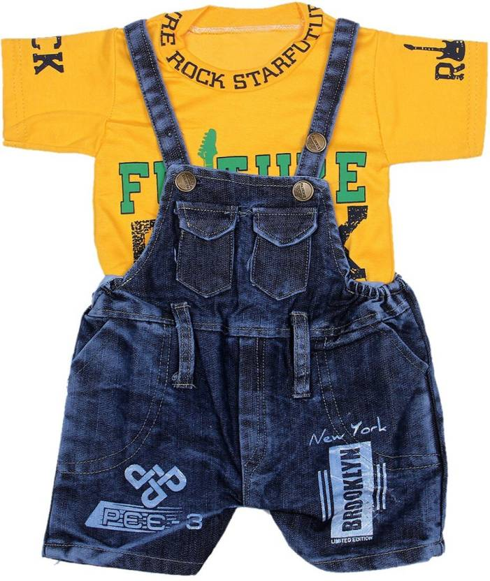 GRAND STITCH Dungaree For Boy's & Girl's Casual Self Design Cotton (Yellow, ...