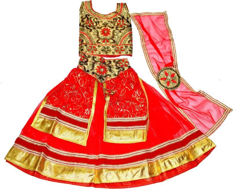 81d2210bb57 JYOTI & GENIUS Baby Girls Lehenga Choli Ethnic Wear Embellished Lehenga,  Choli and Dupatta Set (Red, Pack of 1)