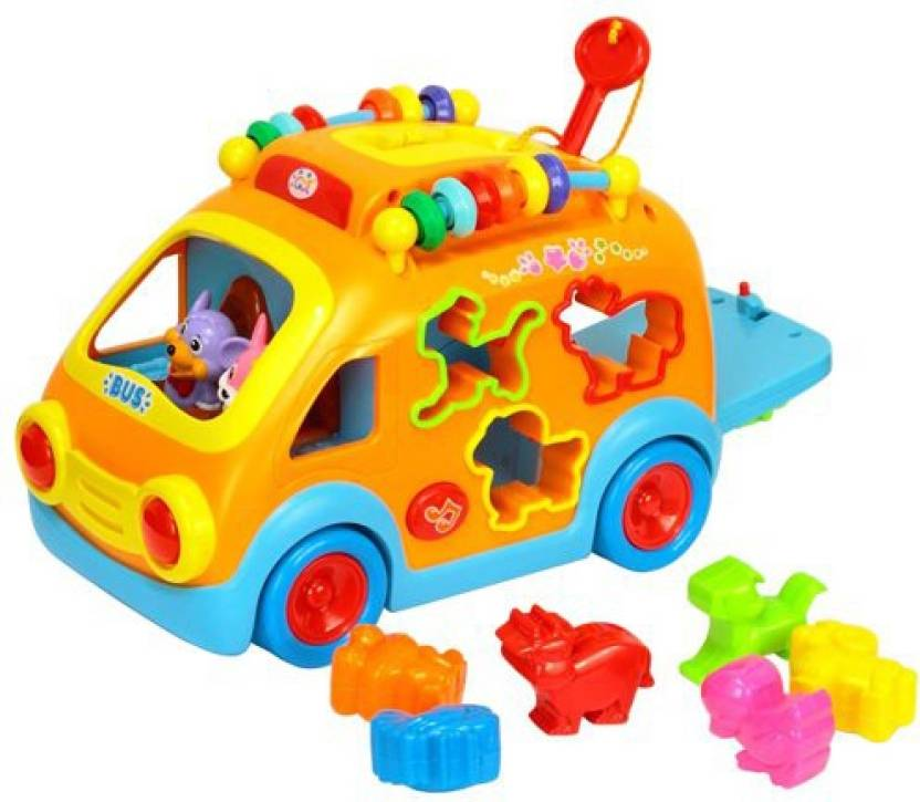 GoAppuGo 6 In 1 Shapes Sorting Car With Animal Sounds Musical Toys Baby Birthday Gift For 2 3 Year Old Boy Girl Kids Multicolor