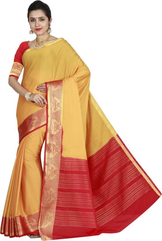 a7da9de2c0 arars Woven, Plain Mysore Silk, Pure Silk, Pure Crepe, Crepe Saree (Mustard)