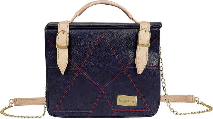 58ae169c67 Bagclan Women Casual Blue PU Sling Bag Navy Blue - Price in India ...