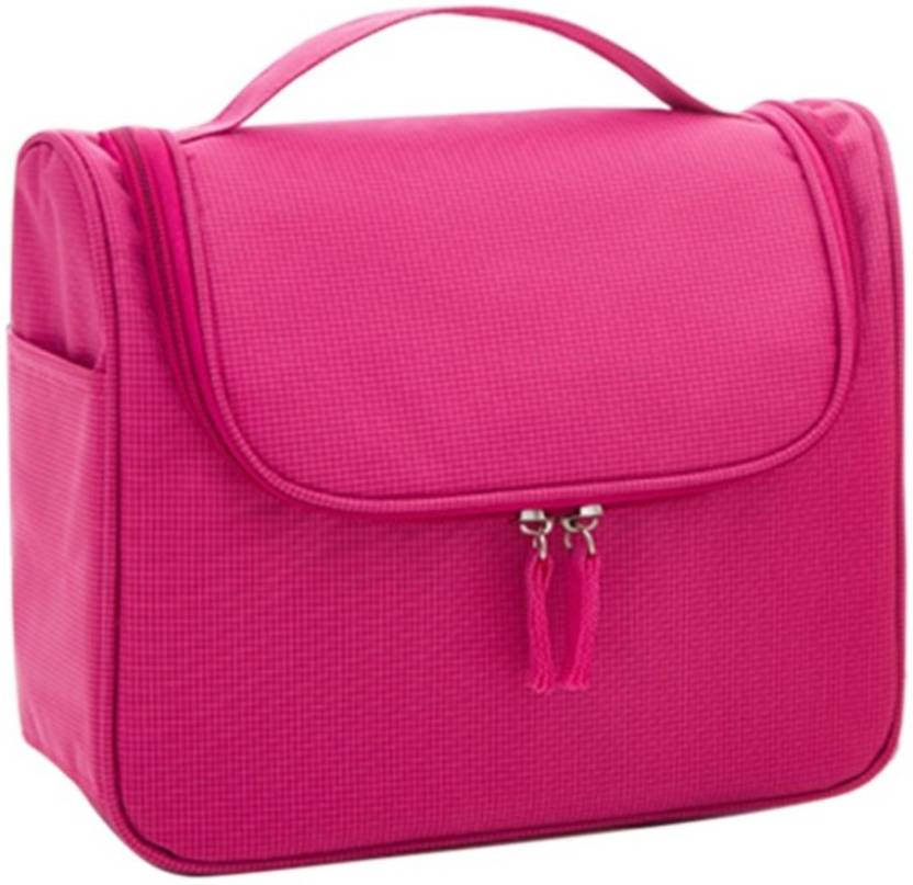 GOCART High Quality Hanging Toiletry Bag Travel Cosmetic Kit - Sturdy Hook Makeup  bag - Heavy Duty Water Resist In Pink Color Travel Toiletry Kit (Pink) 0be08b0a1af94