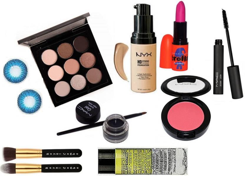 Royal combo Makeup Brush,Mac 9 Shade Eye shadow Palette &Eye Lenses
