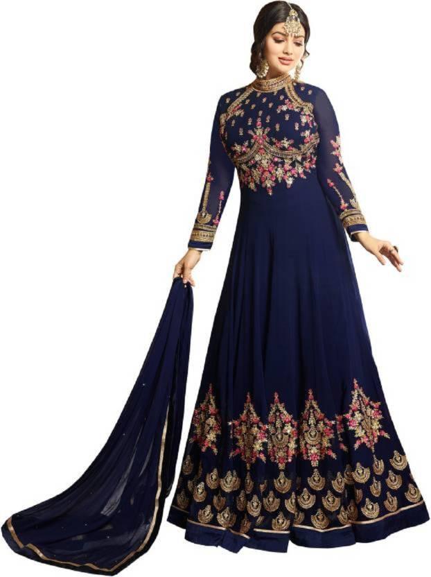 80ec7df1fe B4U FASHION Faux Georgette Embroidered Semi-stitched Salwar Suit ...