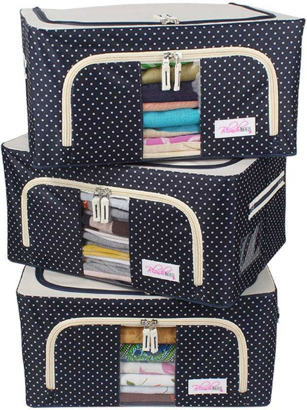 Blushbees Living Box Storage Bo For Clothes Closet Organizer 24 Litre Pack Of 3 Polka Dots Blue
