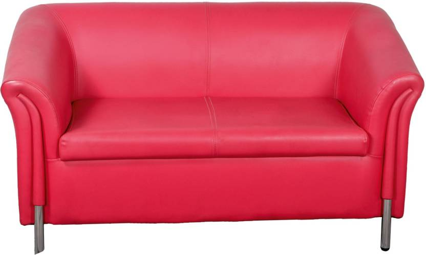 Lakdi Red Fully Cushioned Two Seater Sofa With Stainless Steel Legs ...