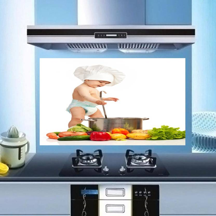 Total Home Medium Fresh Vegetables Healthy Kitchen Wall Decor Sticker Waterproof Anti Oil Stain Tile Decal Pack Of 1