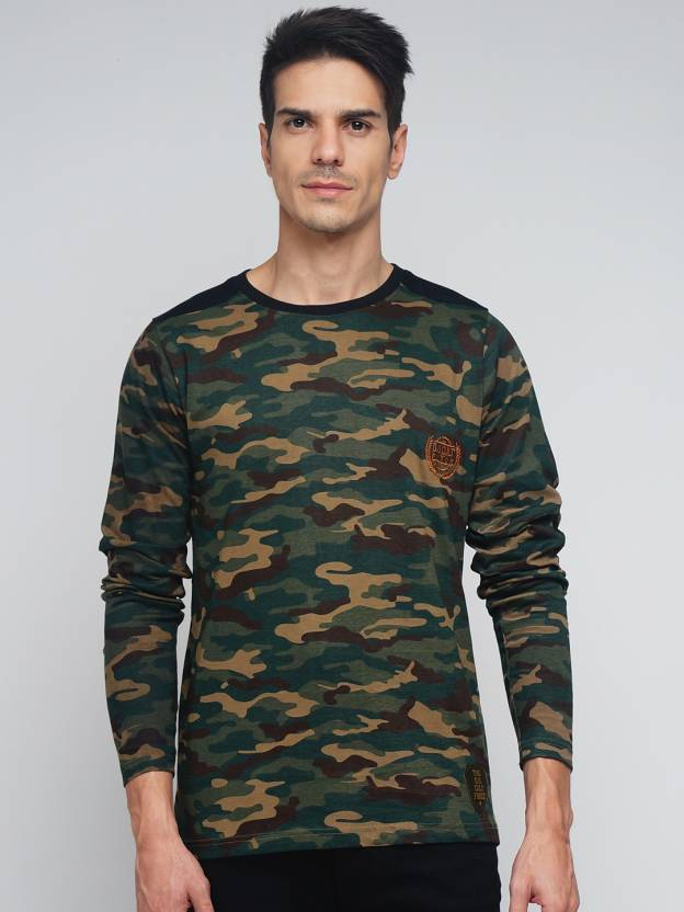 daba8d590 DIFFERENCE OF OPINION Military Camouflage Men Round or Crew Green T-Shirt