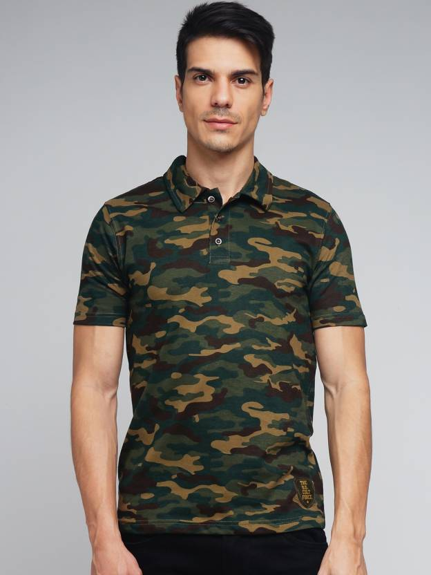 77b720cc DIFFERENCE OF OPINION Military Camouflage Men's Polo Neck Green T-Shirt -  Buy DIFFERENCE OF OPINION Military Camouflage Men's Polo Neck Green T-Shirt  Online ...