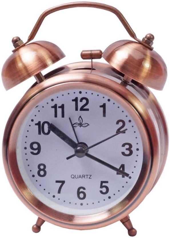 Jeeya Analog copper color table Twin Bell Alarm clock Clock