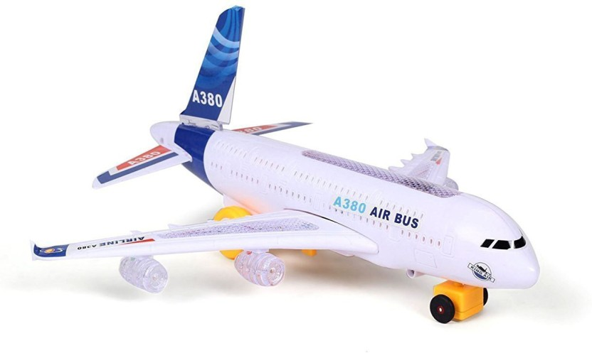 ELECTRIC TOY WITH LIGHT /& MUSIC KIDS AIRPLANE AIRBUS  BUMP AND GO TOYS