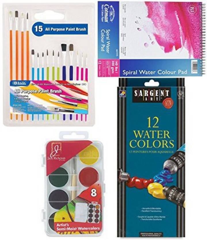 Ayb Products Watercolor Kit Paint Brushes 12 Color S Sheet Spiral Pad Standard Semi Moist Pan Colors