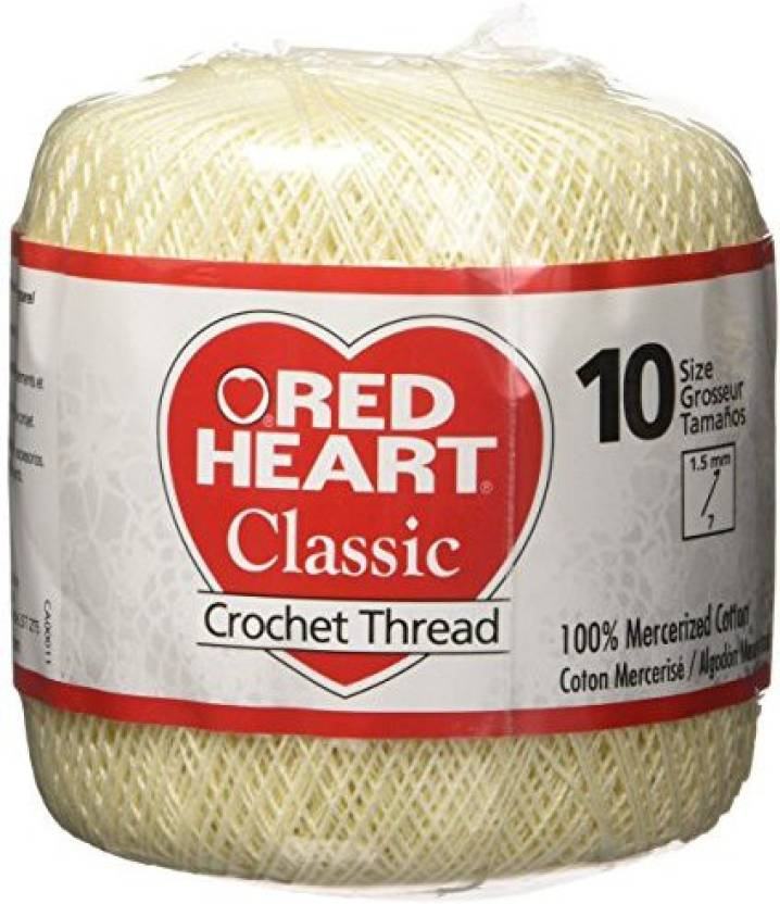 Coats Crochet Red Heart Classic Crochet Thread Size 10 Cream Red