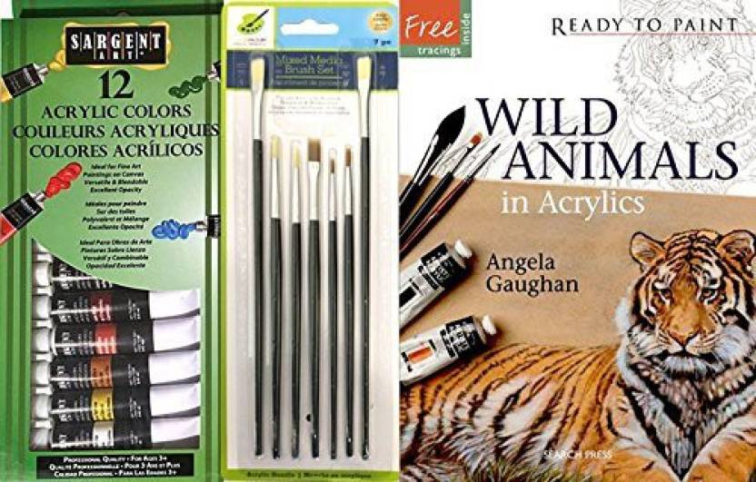 Ayb Products Paint Wild Animals Set With 12 Color Acrylic