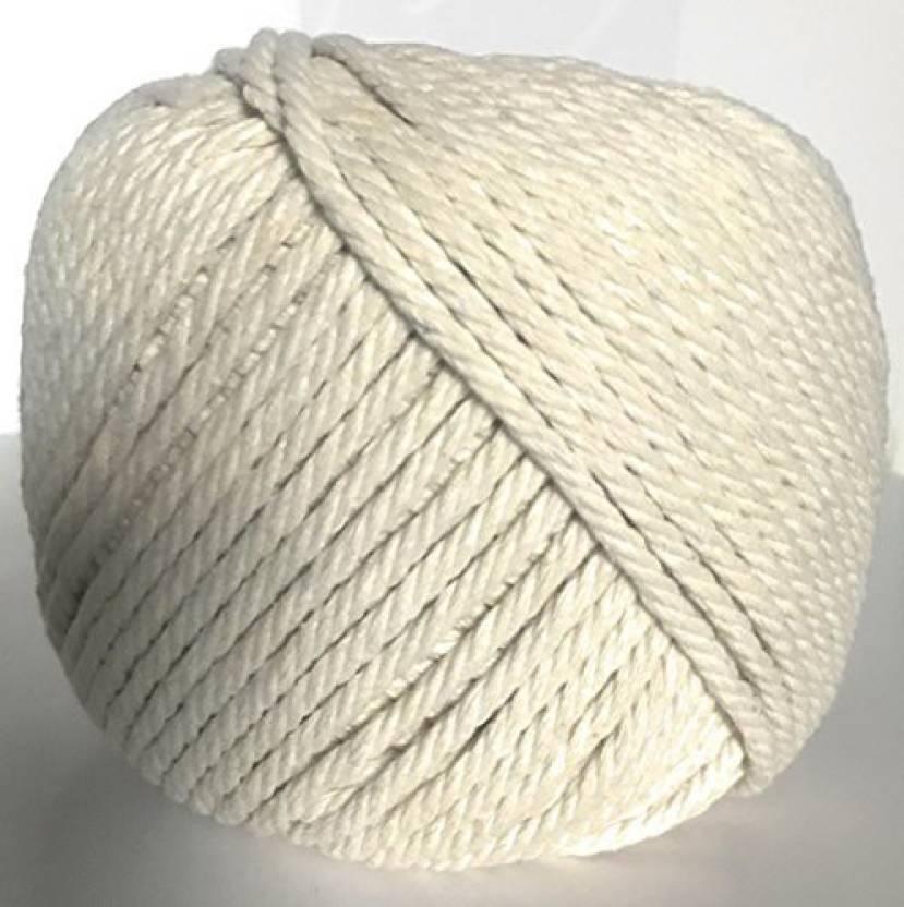 JJD GLOBAL Macrame Cord 4Mm X 100M (109 Yd) Natural Virgin Cotton