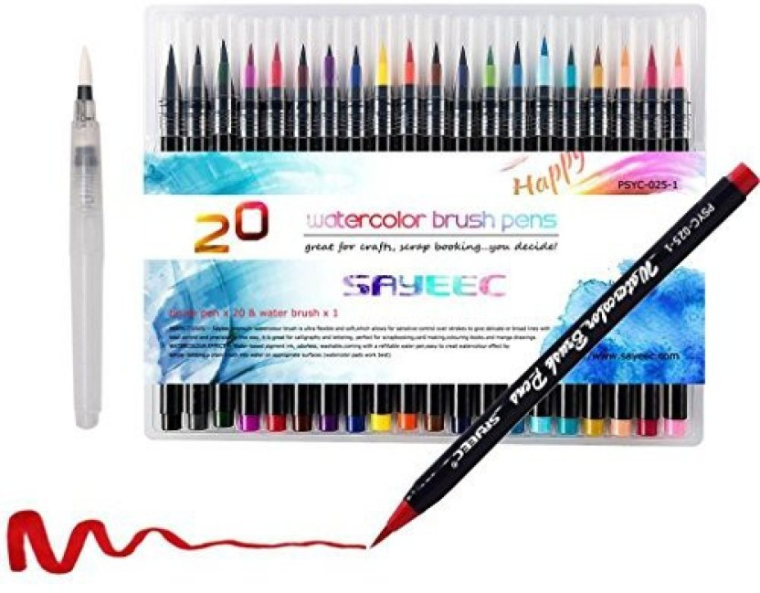 20 Colours Watercolour Brush Pens Set Soft Flexible Tip Ink Water Paint Brush